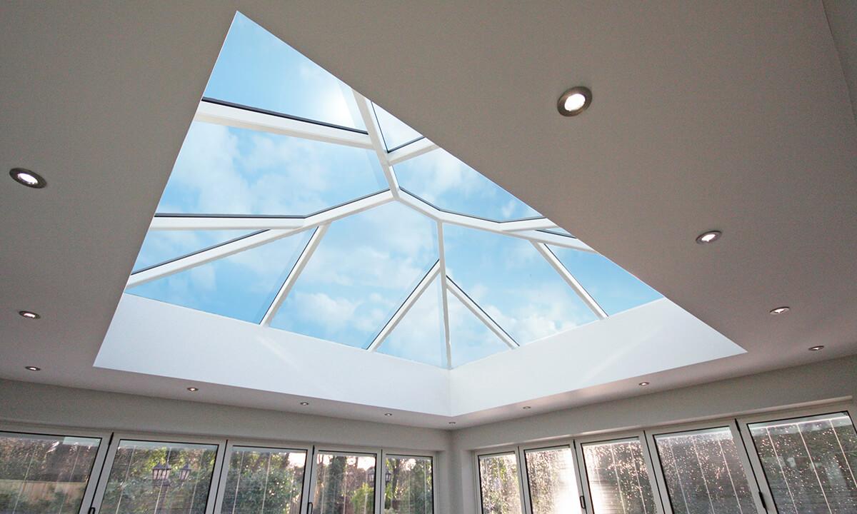 White aluminium lantern roof interior view