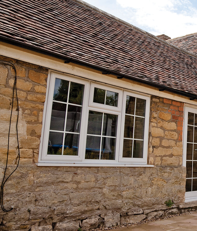 uPVC white casement window installation
