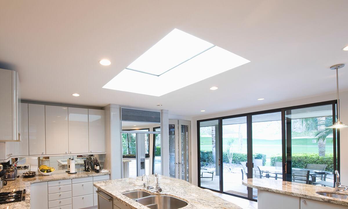 Interior view of an aluminium lantern roof