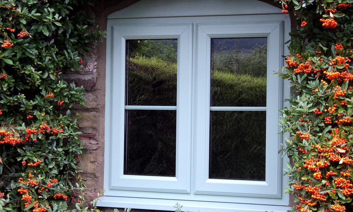 Light blue uPVC casement window