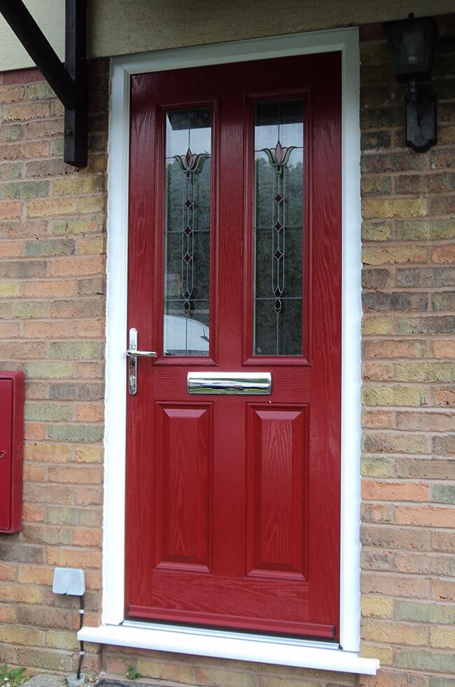 Red composite entrance door