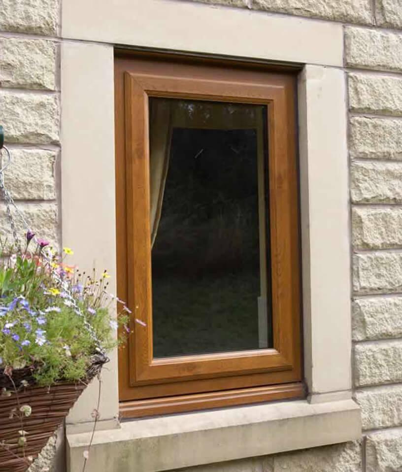 Single oak effect uPVC casement window