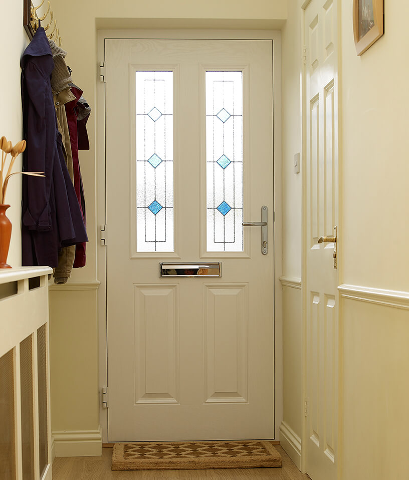 White composite door interior view