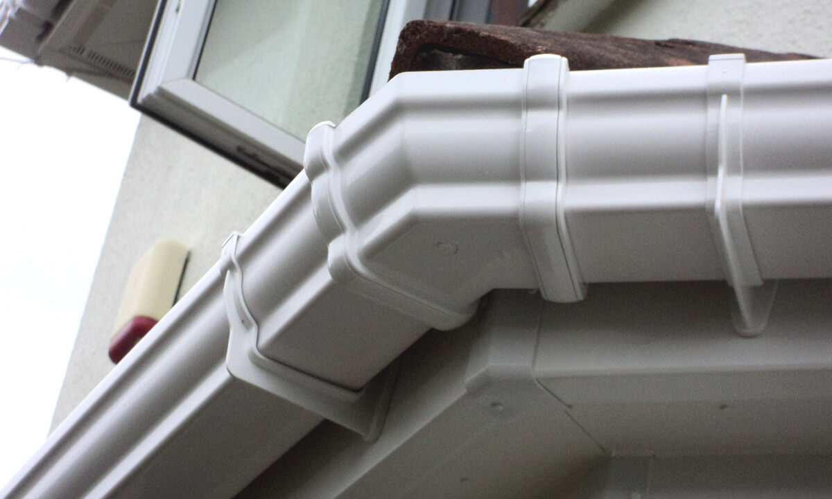 White uPVC guttering close up