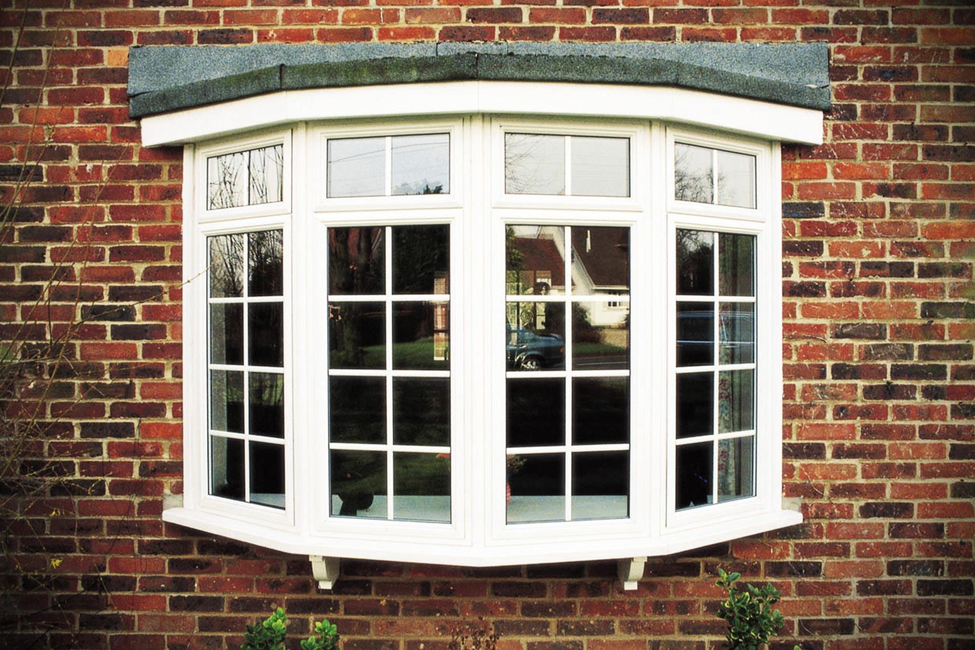 White uPVC bow window