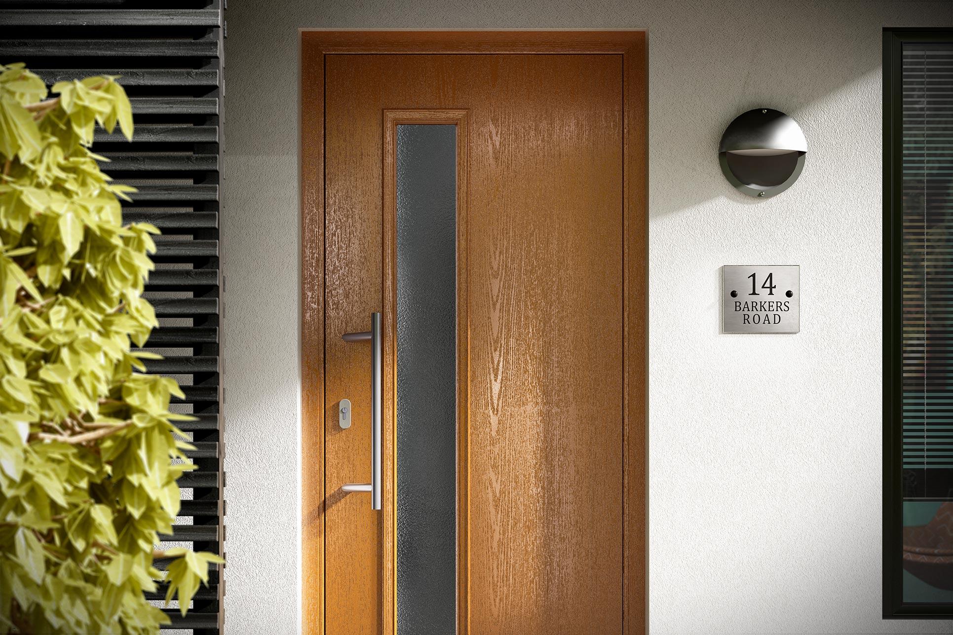 Oak effect composite entrance door