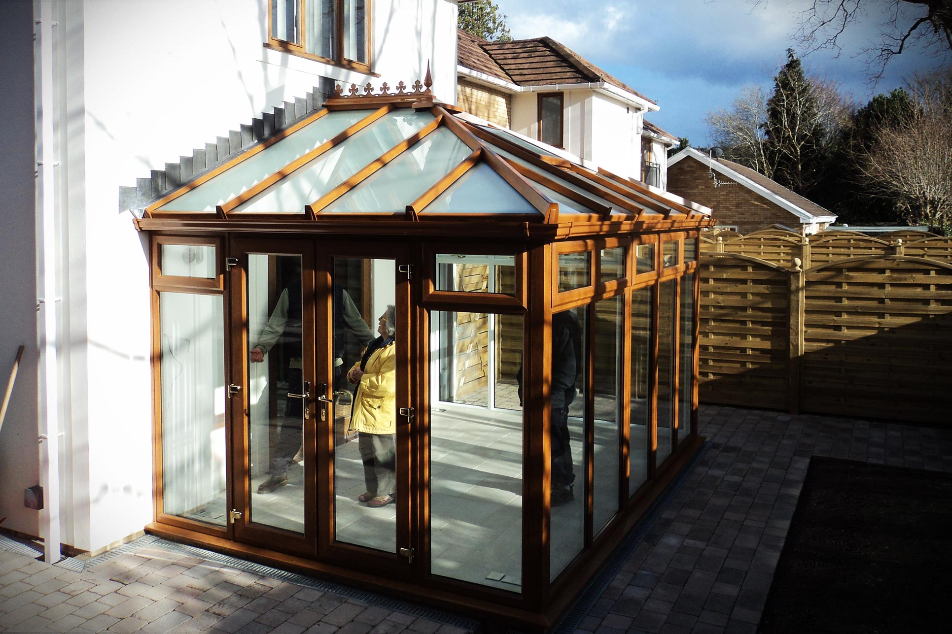 Golden oak effect Edwardian uPVC conservatory