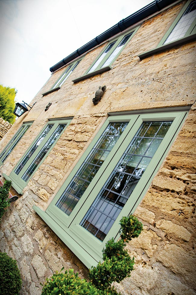Leaded uPVC chartwell green casement windows