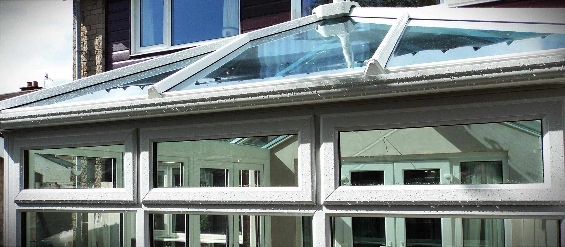 Close up of a white uPVC conservatory glass roof