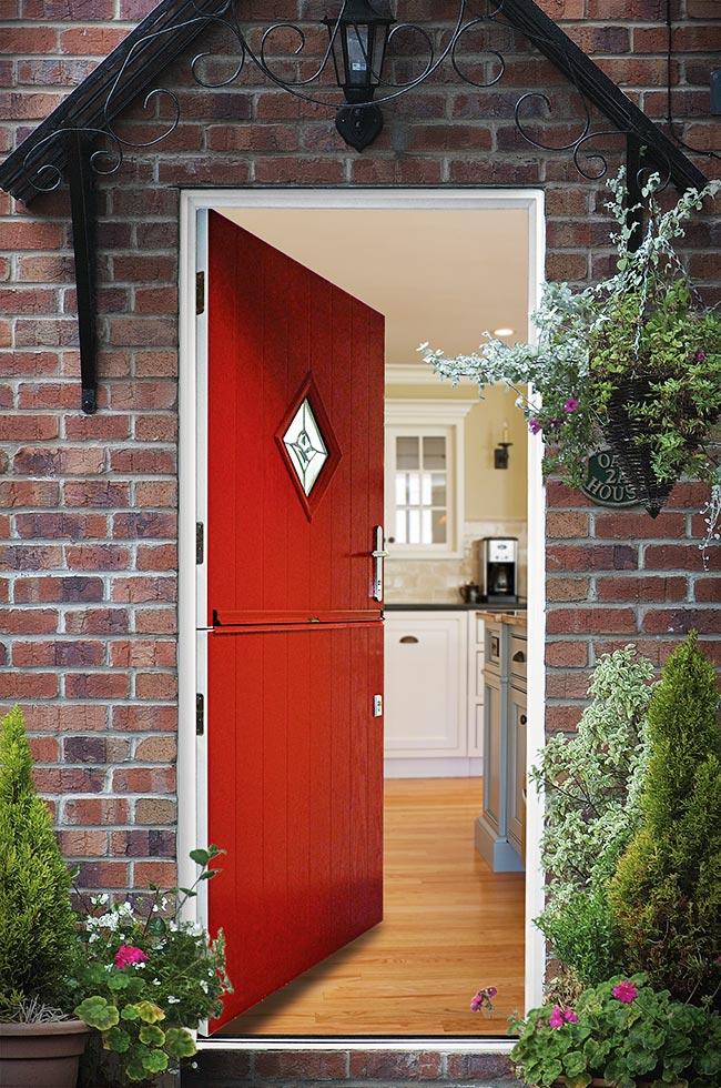 Open red composite entrance door