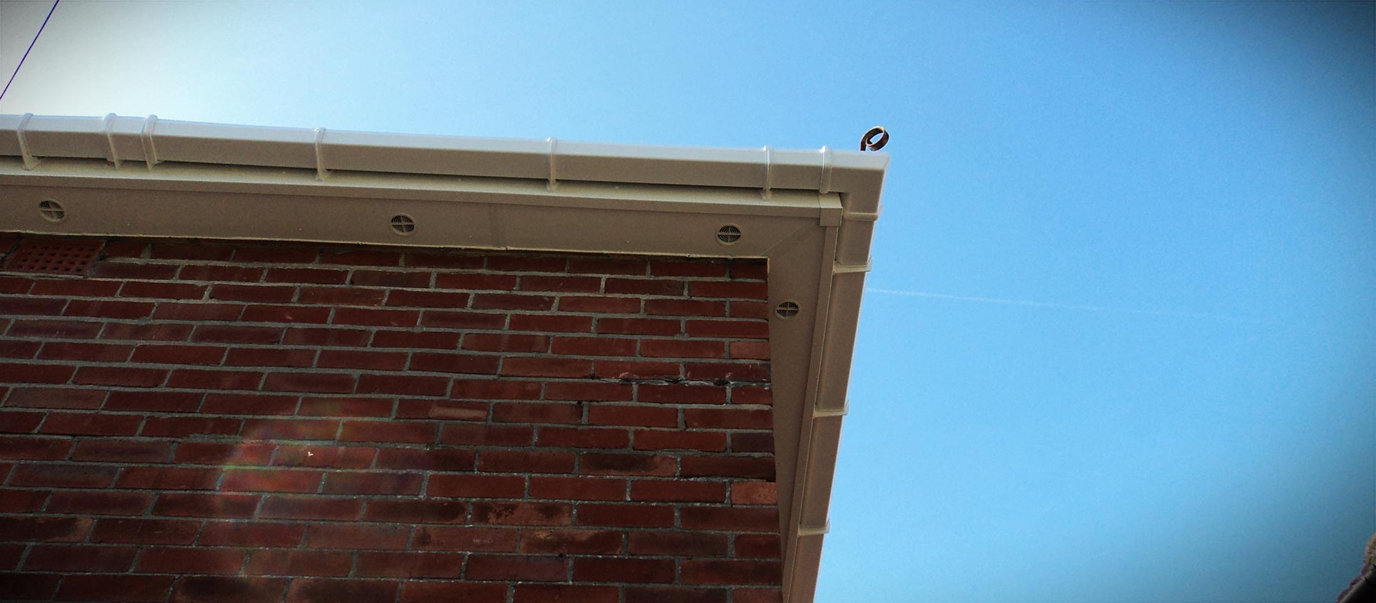 White uPVC roofline corner