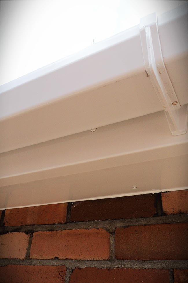 White uPVC roofline guttering close up