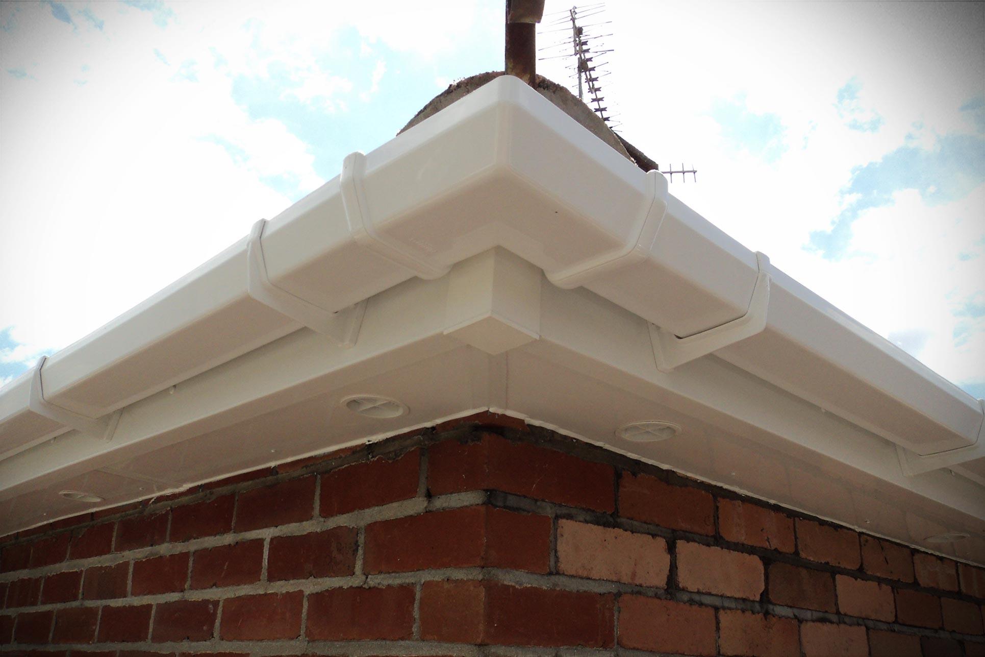 White uPVC roofline close up